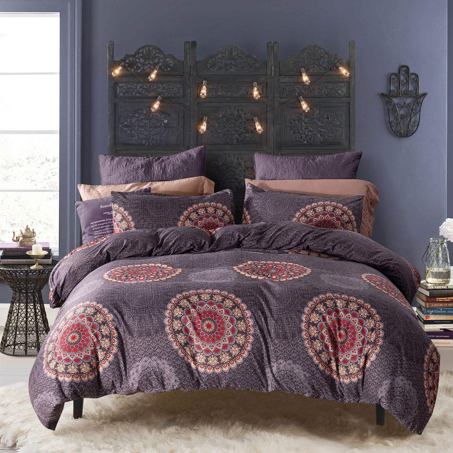 HYPREST Bohemian Duvet Cover Set Boho Chic Mandala Printed Bedding Quilt Cover Sets Lightweight Microfiber Breathable with Zipper Ties(Queen,Purple)