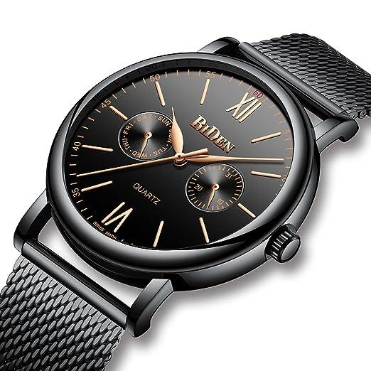 Relojes Negros para Hombre Reloj de Cuarzo Analógico de Malla de Acero Inoxidable Impermeable para Hombre