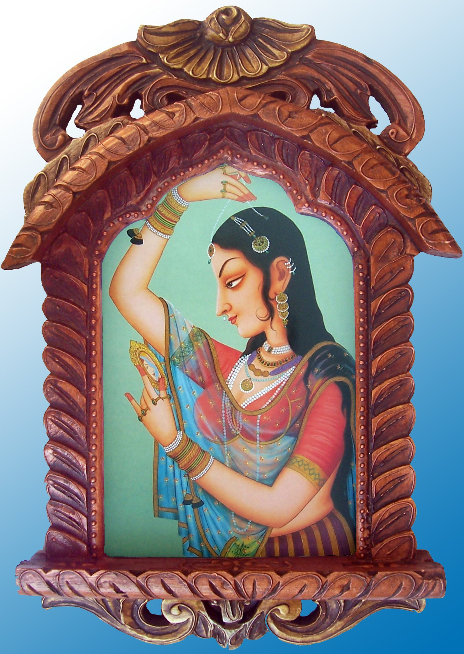 HandicraftStore A Lady Looking Into Mirror, Painting in Traditional Jarokha, Art Crafts