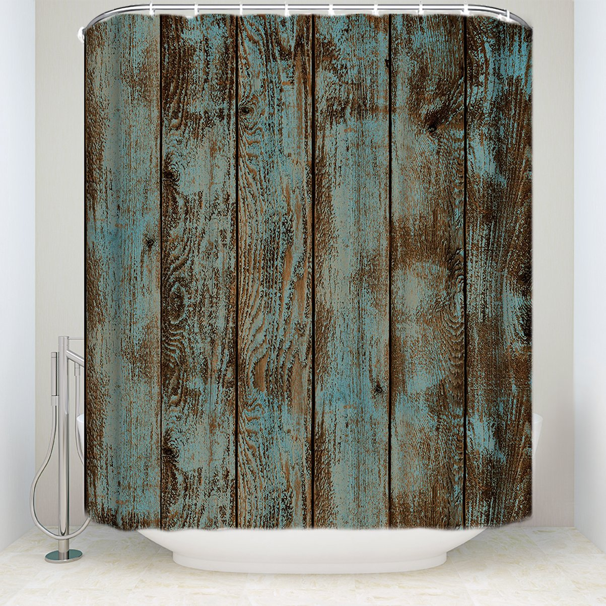 KAROLA Bathroom Shower Curtain, Waterproof Polyester Fabric Rustic Old Barn Wood Vintage Fabric Bath Decor Shower Curtains Set with Hooks 72''(w) x 84''(h)
