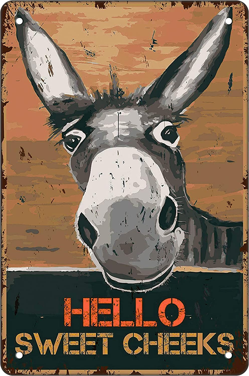 Funny Bathroom Metal Tin Sign Wall Decor - Hello Sweet Cheeks - Vintage Retro Donkey Tin Sign for Farmhouse/Office/Home/Classroom Bathroom Decor Gifts Best Decor Gift Ideas for Friends 8x12 Inch