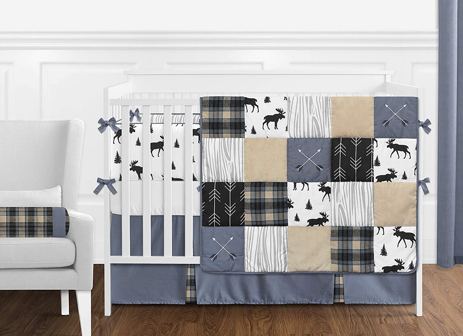 Sweet Jojo Designs Blue Tan Grey and Black Woodland Moose Wall Art Prints Room Decor for Baby Nursery Dream Big Little One and Kids for Rustic Patch Collection Set of 4