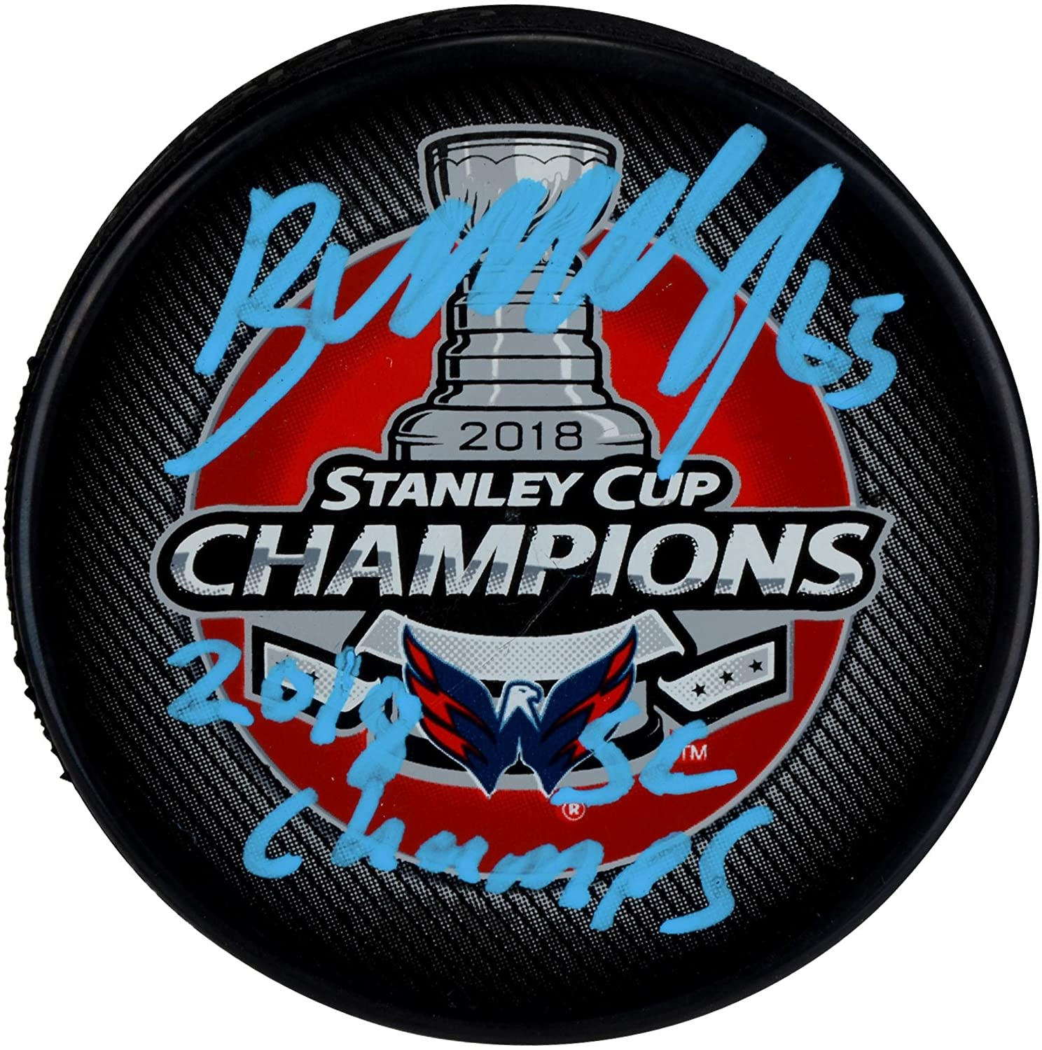 Andre Burakovsky Washington Capitals 2018 Stanley Cup Champions Autographed Stanley Cup Champions Logo Hockey Puck with 2018 SC Champs Inscription - Fanatics Authentic Certified