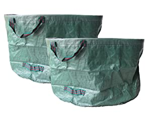 Walkingpround 2 Pack Pop-Up Garden Waste Bags 63 Gallons Lawn & Leaf Bags Container Spring Buckets Collapsible Durable Reusable