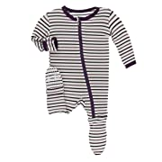 Kickee Pants Little Girls and Boys Print Footie with Zipper - Tuscan Vineyard Stripe, 9-12 Months