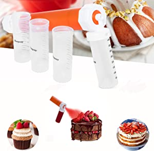 Zhenpony Cake Airbrush Decorating Kits, Manual Pump Airbrush for Painting Cakes, Cupcakes and Desserts, Home DIY Baking Cake Spray Tube Tools with 3 Pieces Plastic Dough Scraper