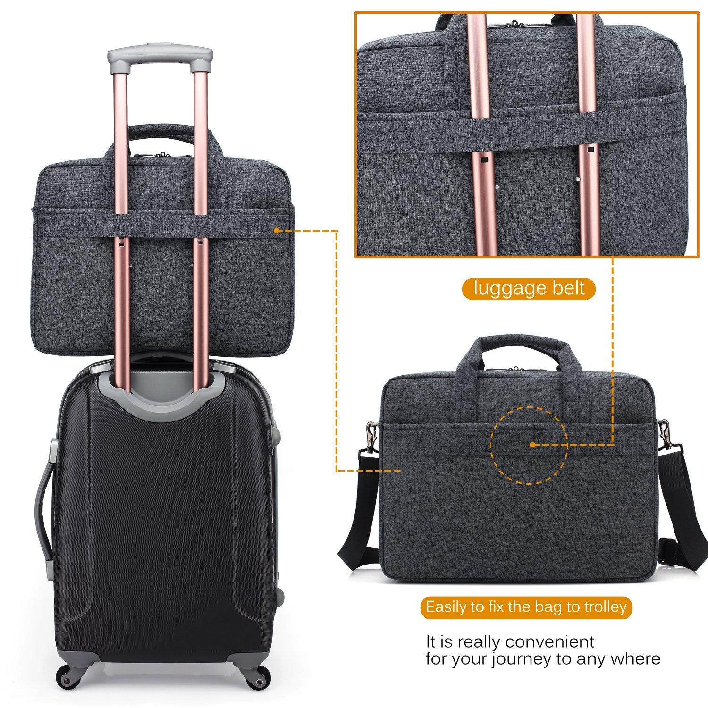 CoolBELL 17.3 inch Laptop Bag Messenger Bag Hand Bag Multi-compartment Briefcase Oxford Nylon Shoulder Bag For Laptop/Ultrabook/HP/Acer/Macbook/Asus/Lenovo/Men/Women (New Grey) by CoolBELL (Image #3)