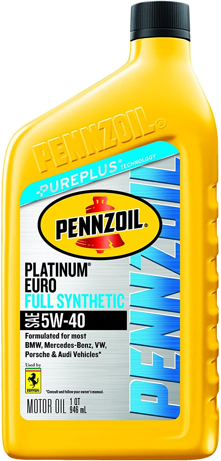 Pennzoil Platinum Euro Full Synthetic 5W-40 Motor Oil (1-Quart, Case of 6)