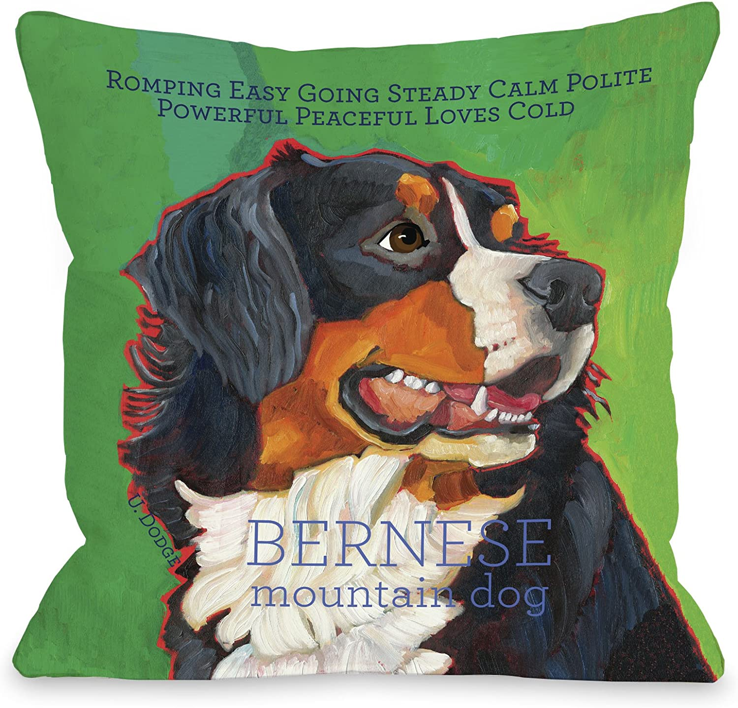 One Bella Casa Bernese Mountain Dog 1 Throw Pillow Cover By Ursula Dodge 18 X 18 Green Home Kitchen