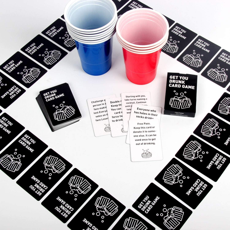 Upchase (100+10+Juego de Cartas Copas de Plastico, Beer Pong Kit, para Fiestas Vaso de Plástico, 100 de 16oz, 54 Cartas y 10 Bolas de, para Bebidas, Fiesta Celebración, Juego para Beber: Amazon.es: Hogar