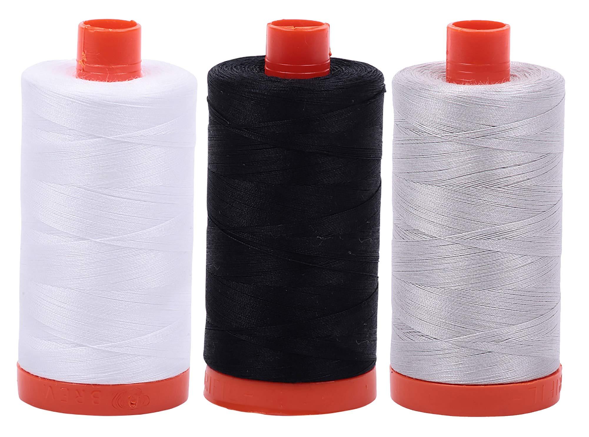 AURIFIL Cotton Mako 50wt Thread 3 Large Spools: White + Black + Aluminum (2024+2692+2615) by Aurifil