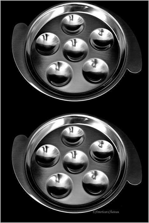 Set of 4 Stainless Steel Snail Escargot Plates Dishes  sc 1 st  Amazon.com & Amazon.com: Set of 4 Stainless Steel Snail Escargot Plates Dishes ...