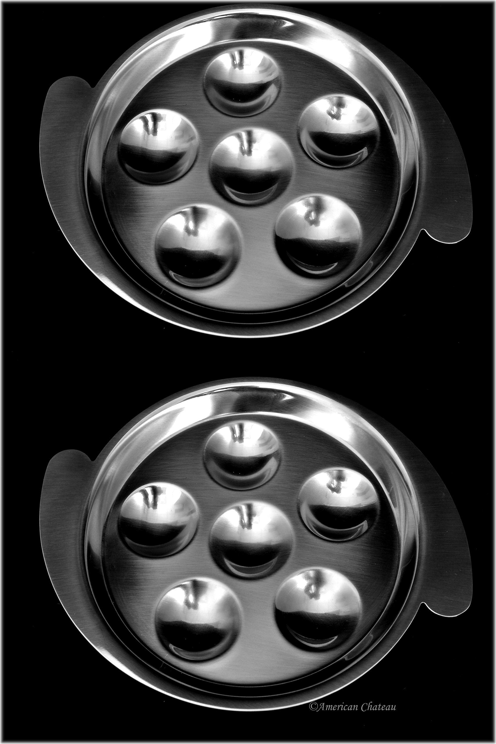 Set 2 Stainless Steel Snail Mushroom Escargot Baking Plate Dishes with Handles