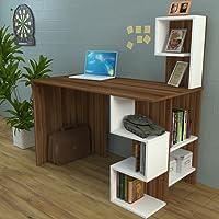 DERONI Scrivania - Scrivania per computer - Scrivania ufficio - Porta PC - Tavolo per Computer con Scaffale Ripiano