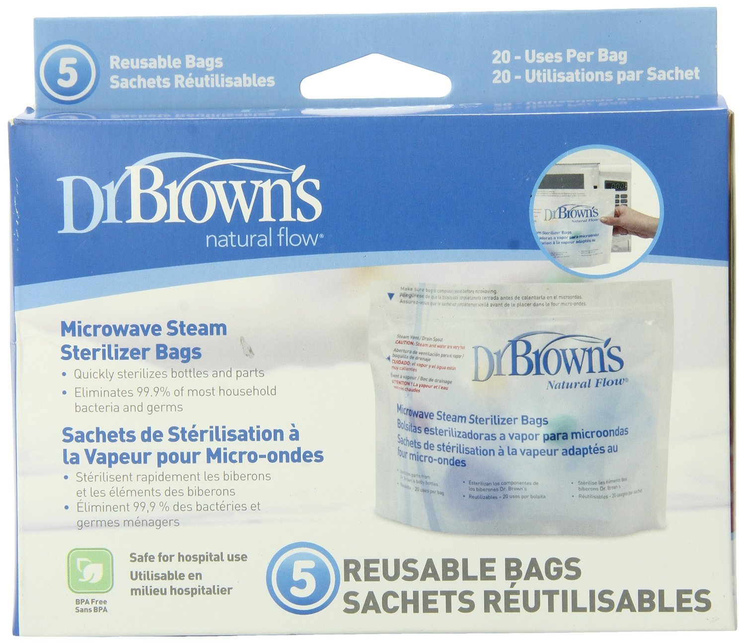 Dr. Brown's Microwave Steam Sterilizer Bags, 5 ct