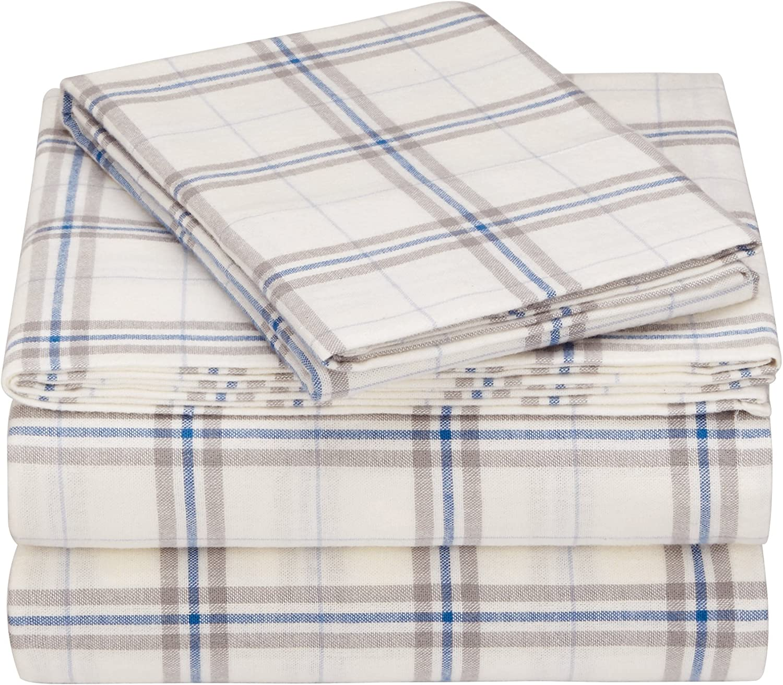 Blue Stripe Plaid Twin Pinzon 160 Gram Plaid Flannel Cotton Duvet Cover Cream