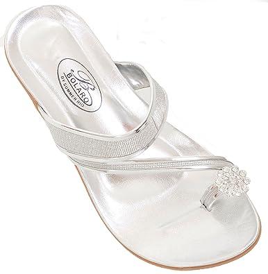 d81a10e9810b Fourever Funky Sparkly Toe-Ring Rhinestone Wedding Bridal Wedge Sandal  Silver-6.5