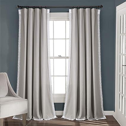 "Lush Decor Light Gray Rosalie Window Curtains Farmhouse, Rustic Style Panel  Set for Living, Dining Room, Bedroom (Pair), 95"" x 54, 95\"