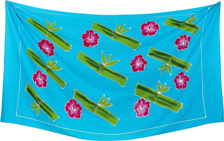 LA LEELA Rayon di Stampa Nuotata Bikini Tie Fessura Coprire Sarong