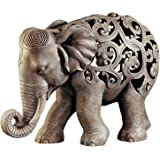 Design Toscano Anjan the Elephant Indian Decor Jali Animal Statue, 12 Inch, Polyresin, Brown Stone
