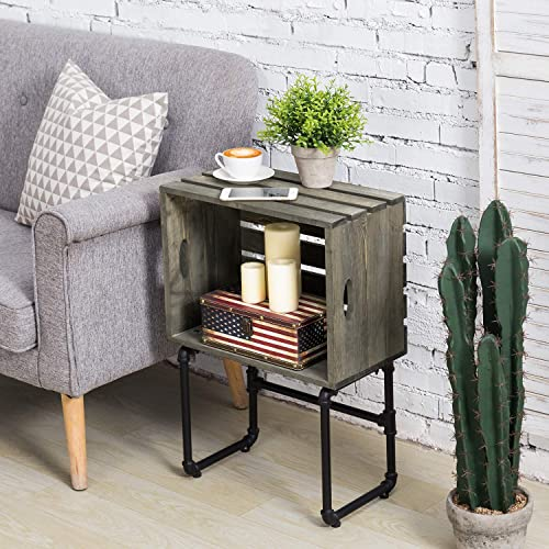 MyGift Vintage Gray Wood Crate Design and Industrial Metal Pipe Living Room Side End Table Review