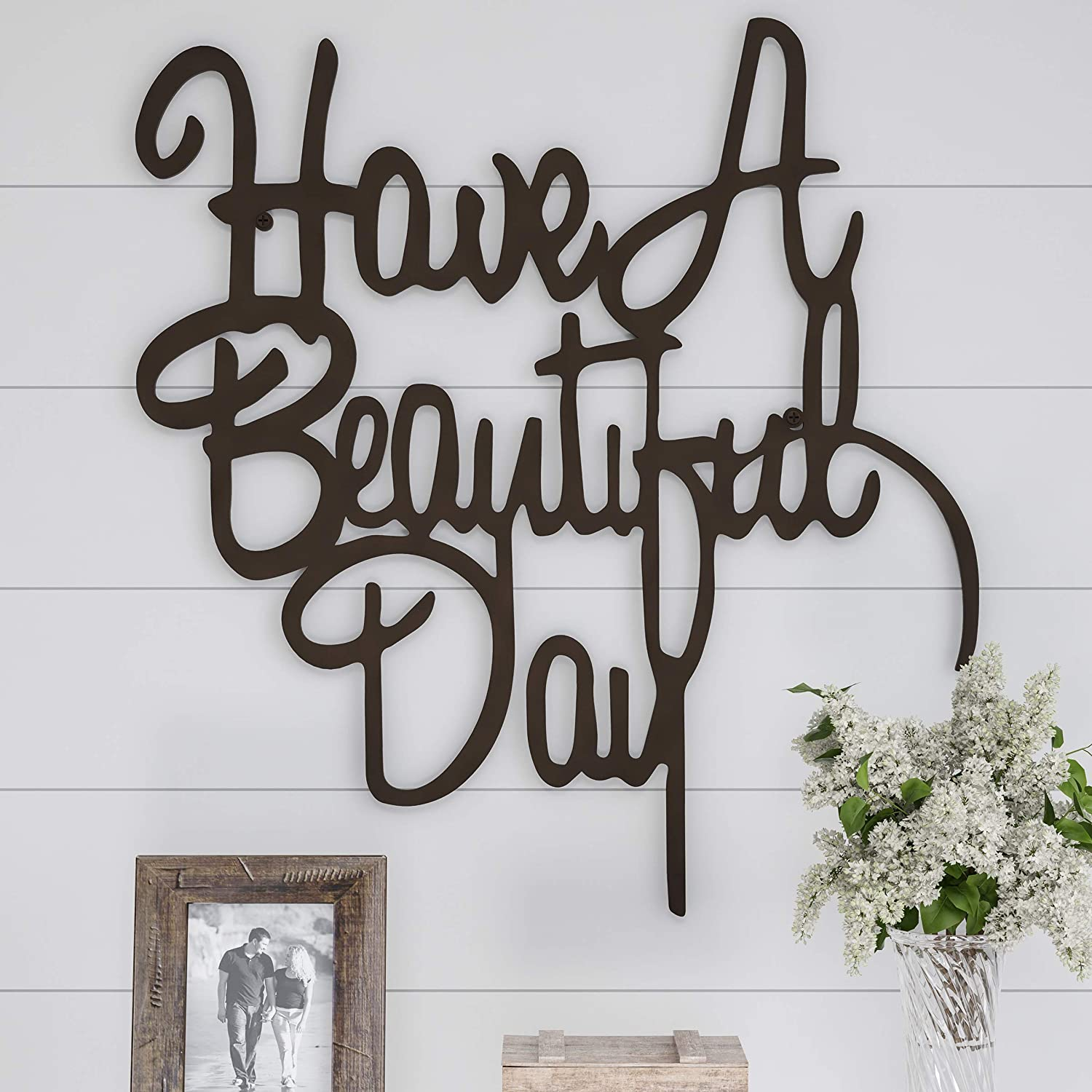 Lavish Home Metal Cutout-Have a Beautiful Day Wall Sign-3D Word Art Home Accent Decor-Perfect Modern Rustic or Vintage Farmhouse Style