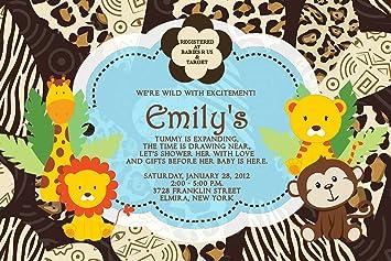 Amazoncom Baby Shower Invitations Photo Jungle Lion Monkey Giraffe