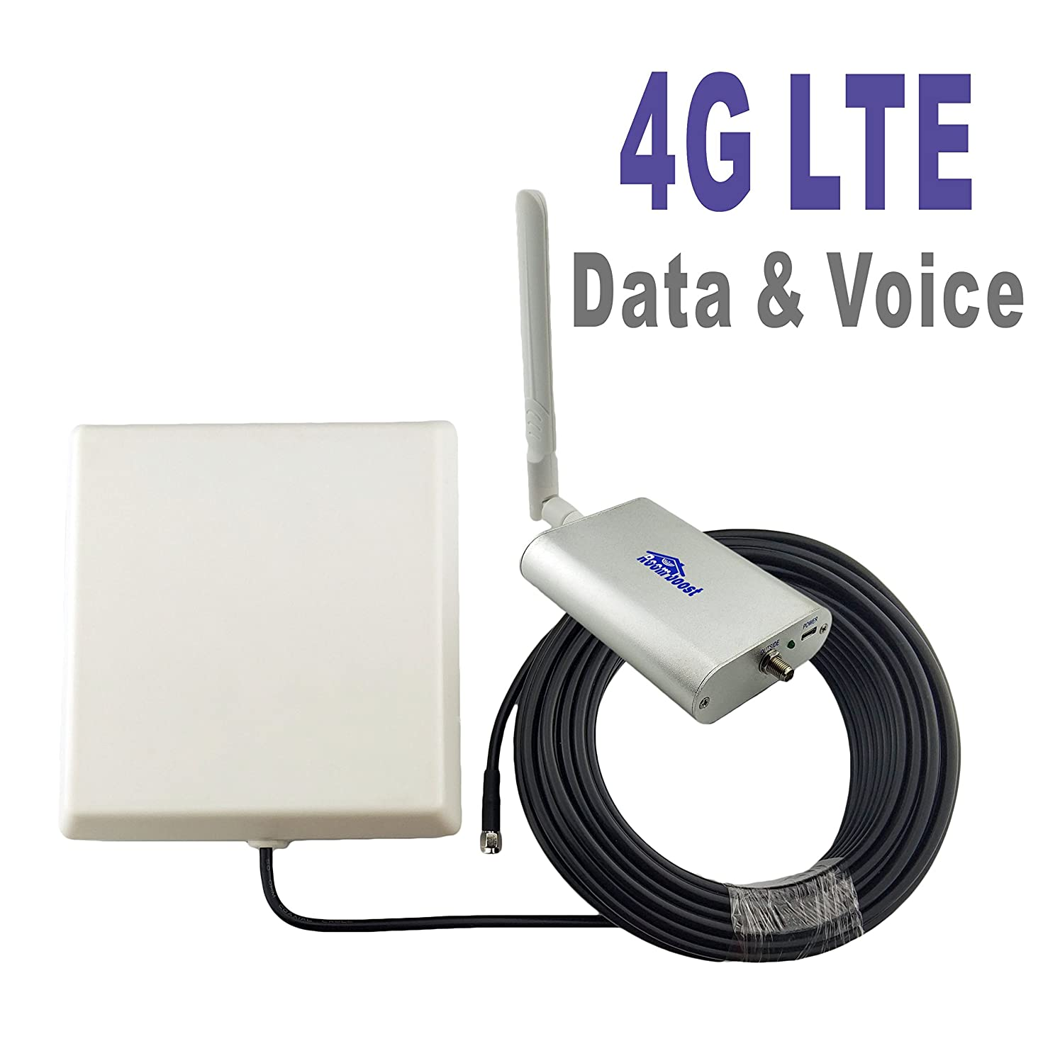 Roomboost AT&T T-Mobile Cell Phone Signal Booster for Home and Office 4G LTE Band12/17 Mobile Phone Signal Amplifier Including RG58 Cable 700MHz Repeater Full Kit HT-P-A002