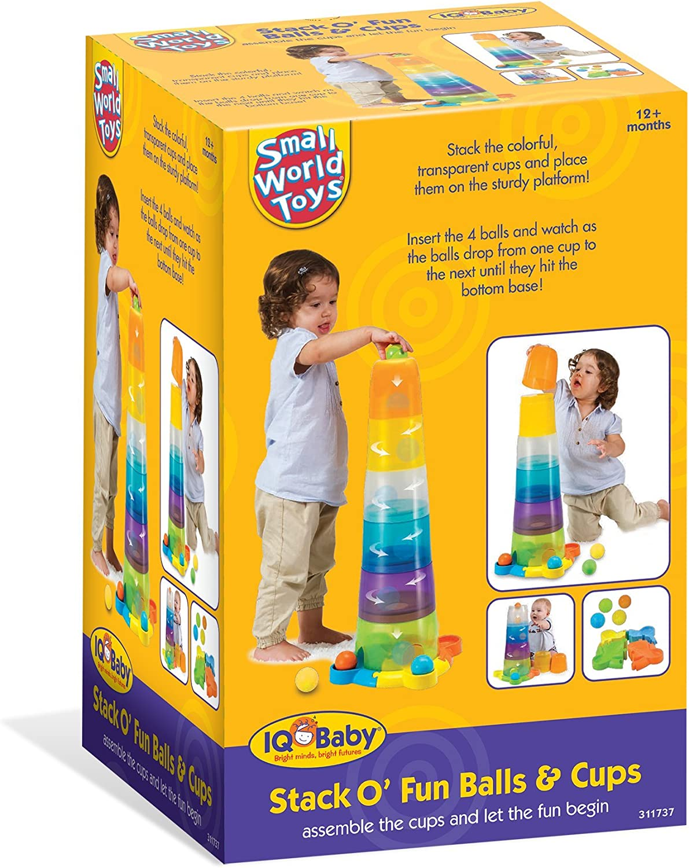 Small World Toys IQ Baby - Stack o' Fun Balls and Cups Set B/O