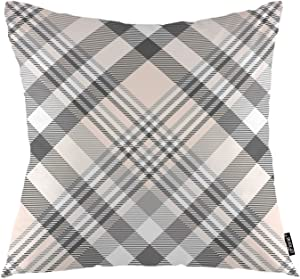 "oFloral Buffalo Plaid Throw Pillow Covers Buffalo Check Girly Scottish British Geometric Stripes Decorative Square Pillow Case 18""X18"" Pillowcase Home Decor for for Sofa Bedroom Livingroom"