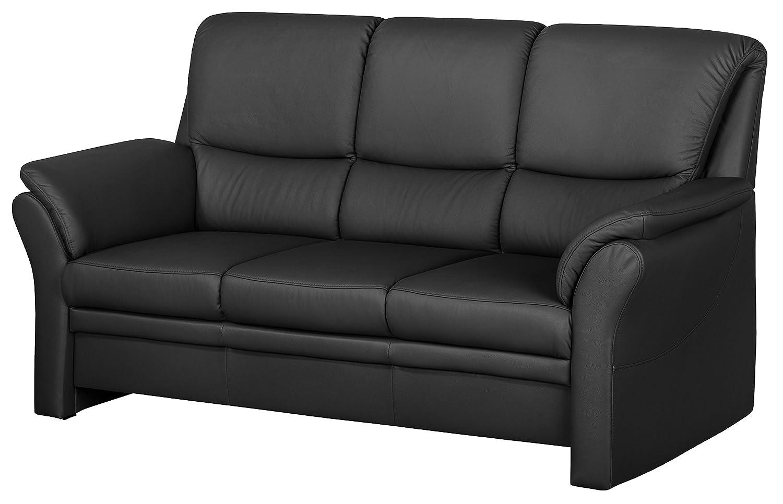 Cavadore 4342 3-Sitzer Klariza, 195 x 102 x 91 cm, Leder Punch kombiniert mit Kunstleder, schwarz
