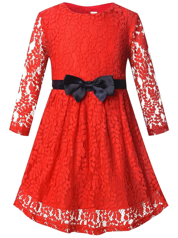 96ec1fcfb7f3 Amazon.com  Bonny Billy Girls Long Sleeve Midi Lace Party Kids Dress ...