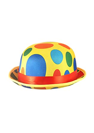 Wicked Night Unisex Adult Clown Bowler Hat Fancy Dress Accessory Circus  Coco Carnival Spotty Funny Hair Accessories  Amazon.co.uk  Clothing 38ea1e419df5