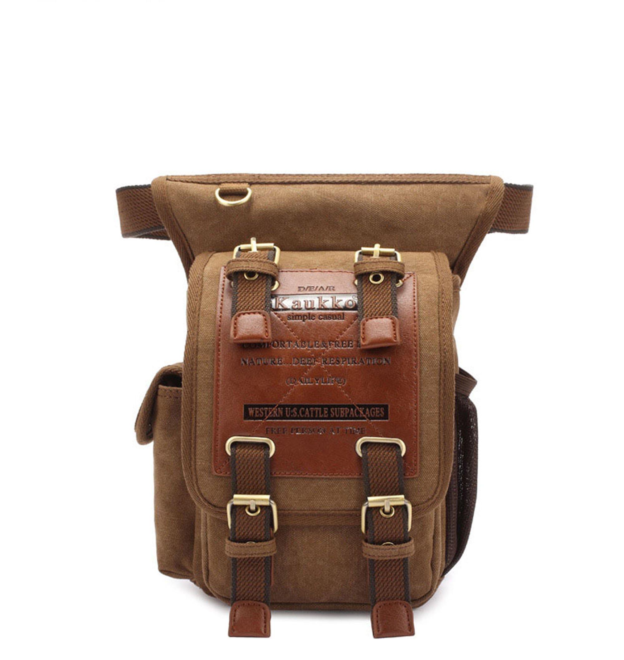 KAUKKO Fashion Multifunction Canvas Crossbody Bag Outdoor Waist Bag Fanny Pack Khaki
