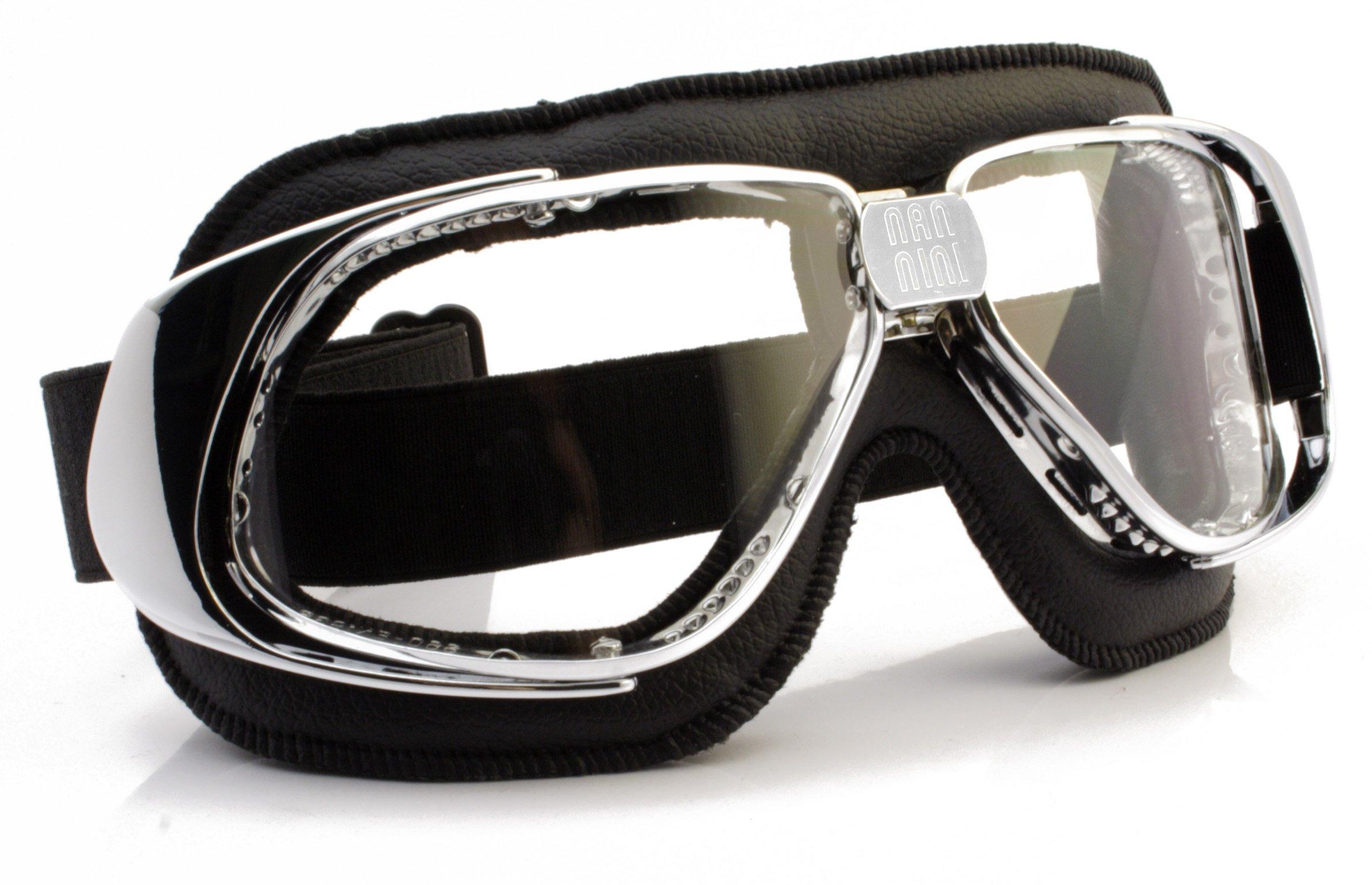 Nannini Clear Anti-Fog Rider Motor Goggles (Chrome/Black)