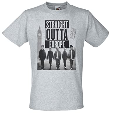 5a67ff976f Mens Straight Outta Europe T Shirt Funny Brexit T-Shirt  Amazon.co.uk   Clothing