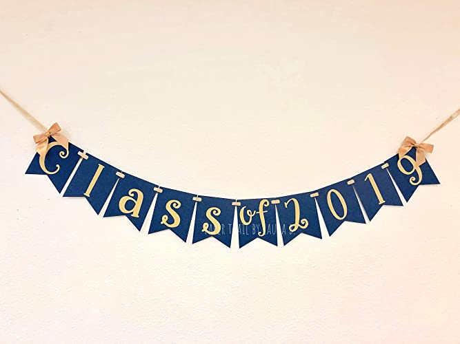 Amazoncom Class Of 2019 Graduation Party Banner Navy Blue And