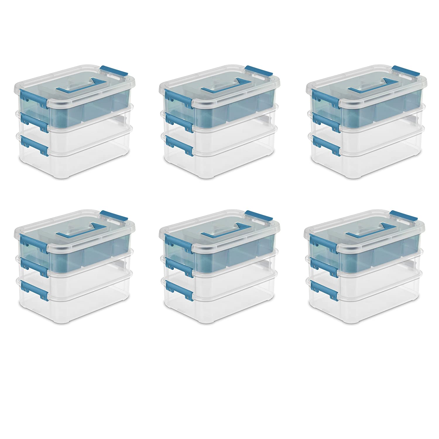 Sterilite 14138606 Stack & Carry 3 Layer Handle Box & Tray, Clear Base w/ Colored Handle, Latches and Tint Tray, 6-Pack