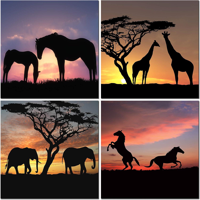 CUFUN Art Cebras elefantes jirafas Silueta de los caballos en el animal Sunset Esquema lienzo Prints Pared (30 x 30cm x 4pcs)