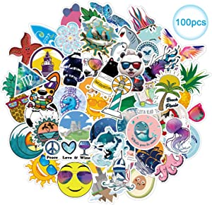 Waterproof Vsco Stickers for Hydro Flask 100 Pack Cool Water Bottle Laptop Vinyl Stickers Cute Blue Ocean Life Stickers Trendy Aesthetic Decals for Teens Adults