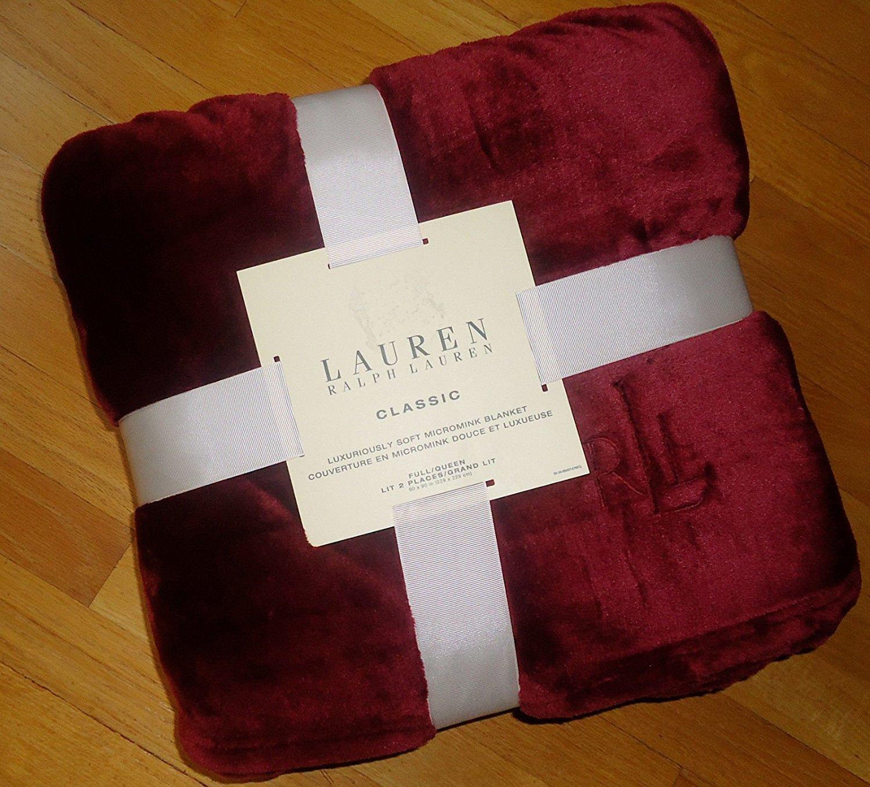 Lauren Ralph Lauren Plush Micro Mink Blanket -Majestic Ruby Red - Queen / Full Micromink