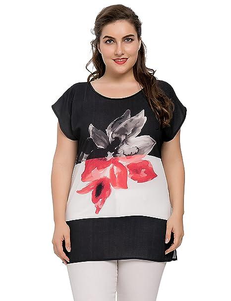 Chicwe Blusas Tops Tallas Grandes Mujeres Camisa Elástica Estampados Flores Grandes Negro 1X