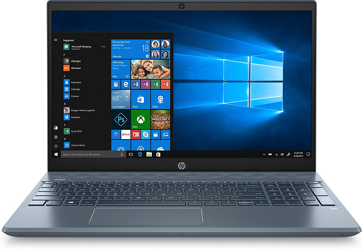 "HP Pavilion 15.6"" FHD AMD Ryzen 5 3500U AMD Radeon Vega 8 Graphics 8GB RAM 128GB SSD 1TB HDD Webcam Windows 10 Blue Laptop (Renewed)"
