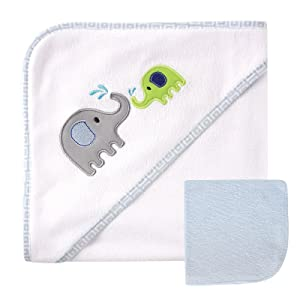 Luvable Friends Unisex Baby Hooded Towel and Washcloth, Blue Elephant, One Size