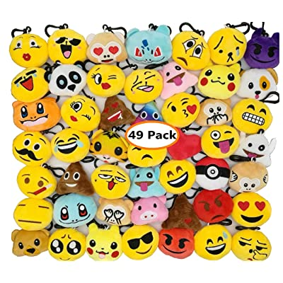 Swity Home Xmas Emoji Keychains Mini Emoji Plush Pillow Emoticon Keychain Decoration Christmas Emoji Plush Keychains Xmas Party Supplies Christmas Gifts for Kids (49 Pack)