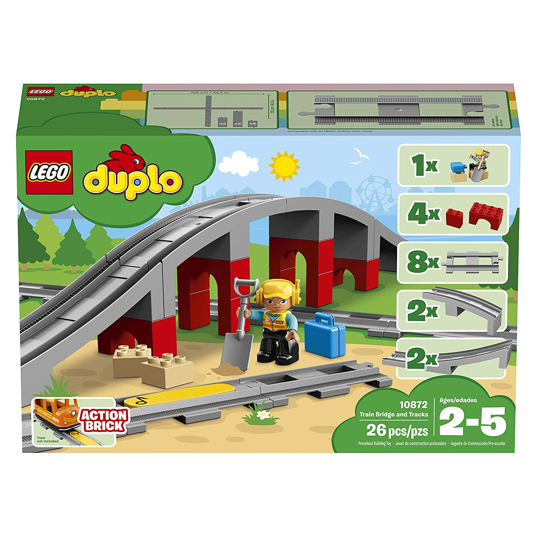 LEGO DUPLO - Les rails et le pont du train - 10872 - Jeu de Construction