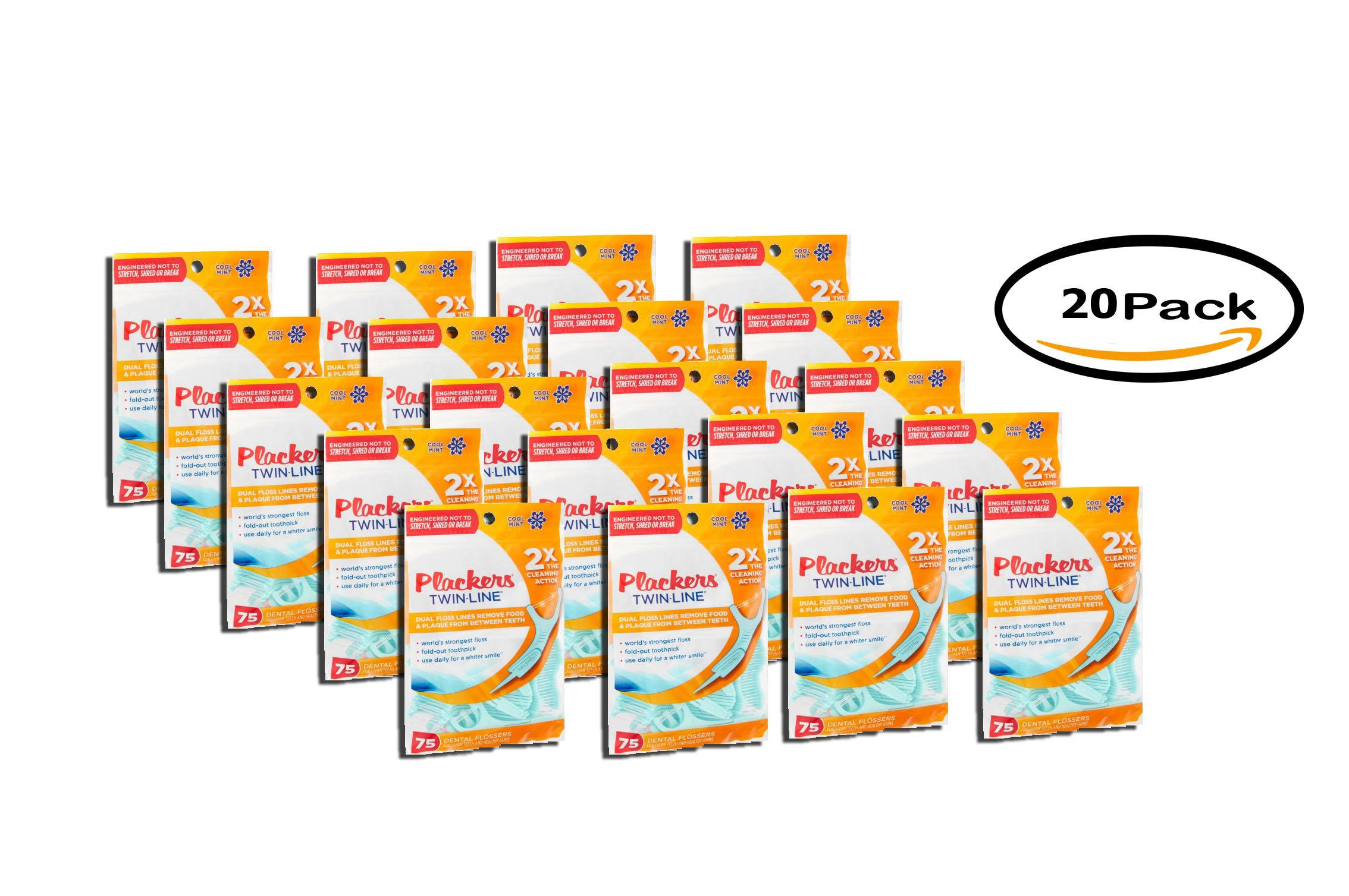 PACK OF 20 - Plackers Twinline Flossups 75ct by Plackers (Image #1)