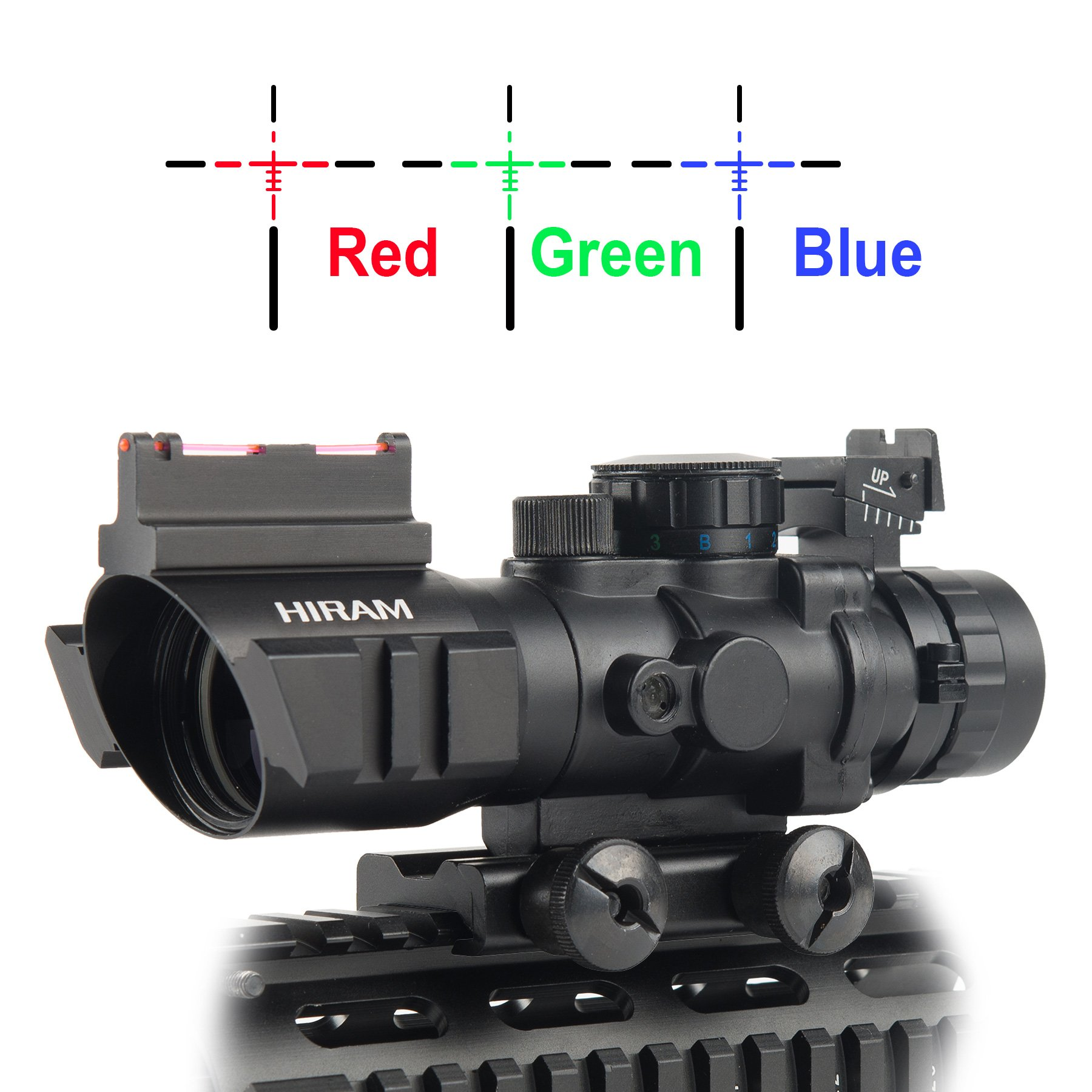 Hiram 4x32 Tactical Prismatic Rifle Scope Red / Green / Blue Reticle Long Eye Relief 3 Brightness W/ Top Fiber Optic Sight and Weaver Slots