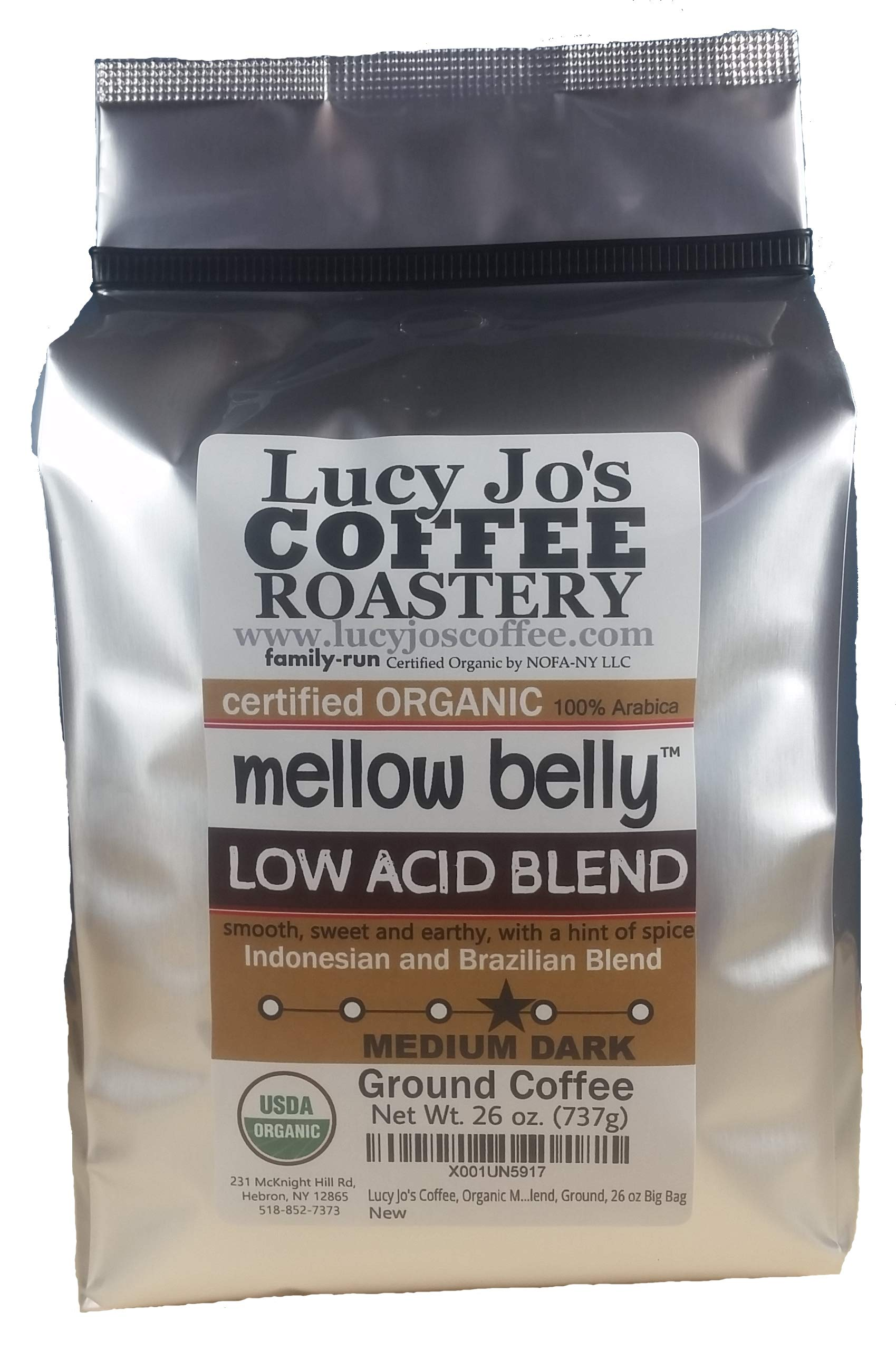 Lucy Jo's Coffee, Organic Mellow Belly Low Acid Blend, Ground, 11 oz (26 OZ)