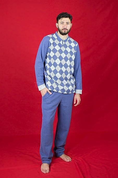 Pijama para hombre de forro polar con cuello Serafino diseño a cuadros Avio 3